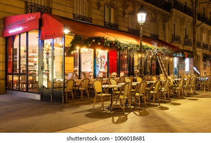 Paris, France-January 14 , 2018: The traditional French cafe de Paris decorated for Christmas located Friedland avenue in Paris.
