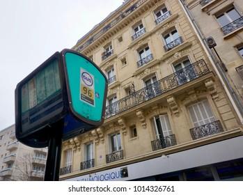 Paris, France-January 28, 2018: a bus stop in central Paris