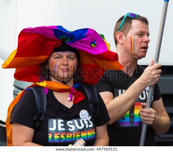 Paris, France-July 02, 2016 : The participants  of  Gay pride parade at quai du Louvre in Paris, France.