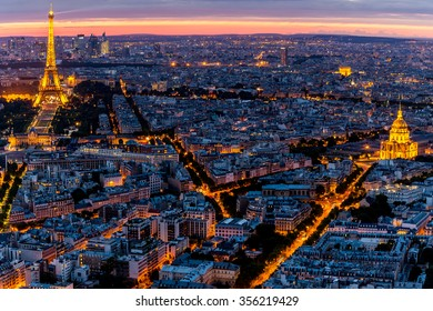 Paris, France-July 21, Paris and the Eiffel Tower at night, July 21.2015 in Paris