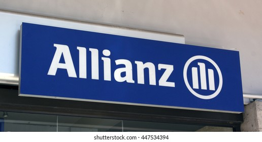 Paris, France-June 20, 2016: sign og the allianz insurance company