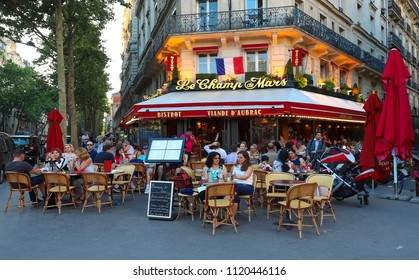 Paris, France-June 23, 2018 : Cafe Le Champ de Mars is traditonal French cafe located near the Eiffel tower in Paris, France.