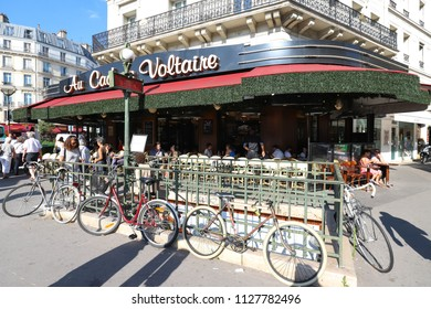 Paris, France-June 26, 2018 : The traditional French cafe Le Cadran Voltaire located Boulevard Voltaire in Paris, France.