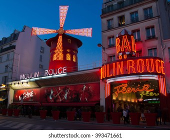 Paris, France-March 18, 2016 : The famous cabaret Moulin Rouge located close to Montmartre in the district of Pigalle on boulevard Clichy in the 18th arrondissement of Paris.