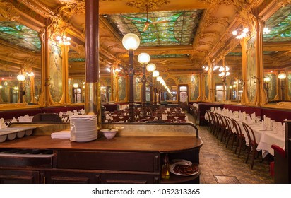 Paris, France-March 21, 2018 :Located right in the heart of Paris, a stone s throw from the Grands Boulevards and theatres, Brasserie Julien is a listed historical monument founded in 1903.
