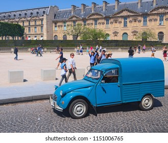 Paris, France-MAY 06, 2018:Ancient blue van - iconic Citroen 2CV Fourgonnette, front view. Place du Carrousel at sunny day.