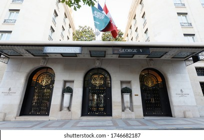 Paris, France-May 31, 2020 : An art-deco landmark built in 1928, Four Seasons Hotel George V is nestled in the Golden Triangle of Paris, just off the historic Champs-Elysees.