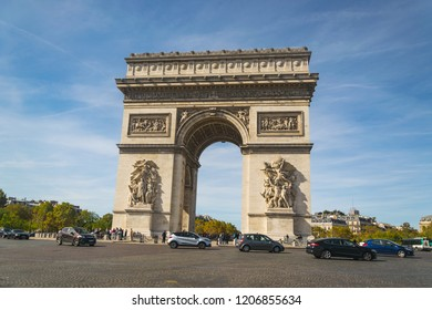 Paris, France-October 02,2018 Arc de triomphe with traffic.