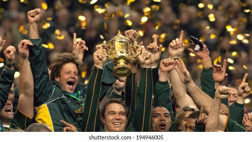 PARIS, FRANCE-OCTOBER 21, 2007:  south africa's captain John Smit celebrates holding Web Ellis Cup, at the end of the final England vs South Africa, of the Rugby World Cup, France 2007, in Paris