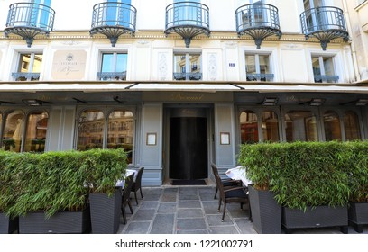 Paris, France-September 29, 2018 : Drouant is historic Parisian restaurant founded in 1880, located in the very center of Paris. It has hosted the famous literary awards, Goncourt Renaudot, since 1914