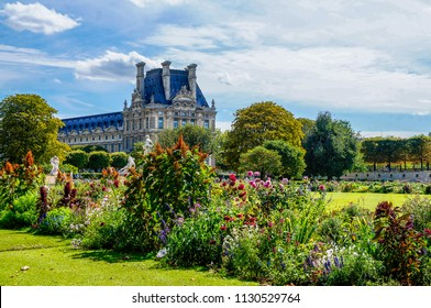 Paris, Ile de France / France - September 7 2013: View of The Louvre from the Tuileries Garden