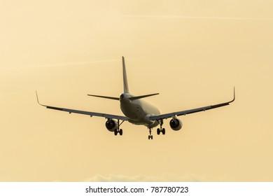 Paris, Ile-de-France, France; 03 17 2017: Approaching airplane to CDG