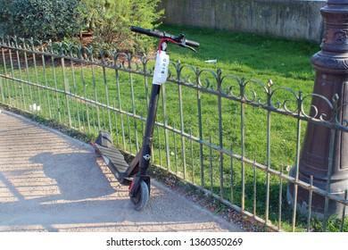Paris, Ile-de-France/France - 03/31/2019: electric scooter in Paris