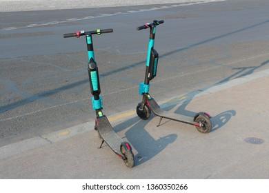 Paris, Ile-de-France/France - 04/01/2019: electric scooters in Paris