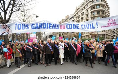 """PARIS - JANUARY 13: """"Manifestation for all"""" against the draft law """"Mariage et adoption pour tous"""" - The draft law to legalize gay marriage and adoption on January 13, 2013, Paris, France."""