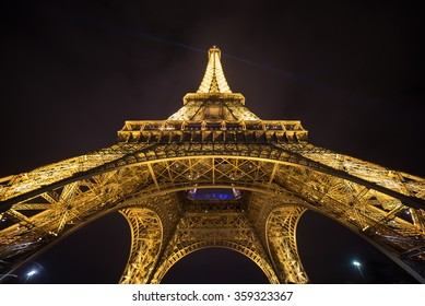 PARIS - January 2 : Details of the illuminated Eiffel Tower by night. The most recognizable landmark of the world. January 2, 2016 in Paris, France