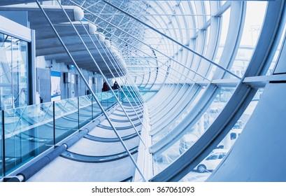 PARIS - January 20, 2016:  Corridor. PARIS Charles de Gaulle Airport, interior.