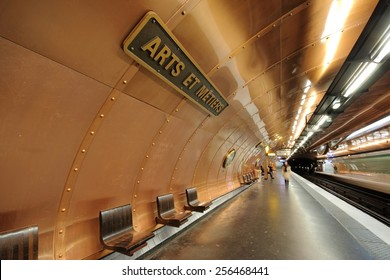 PARIS - JANUARY 30, 2015: Arts et Metiers subway station, on January 30, 2015 in Paris. The line 11 platform was redesigned in a steampunk style reminiscent of the science fiction works of Jules Verne