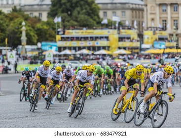 PARIS - JUL 23: Team Sky and Christopher Froome in Yellow Jersey riding in front of the peloton in Place de la Concorde in Paris during the last stage of Le Tour de France 2017.