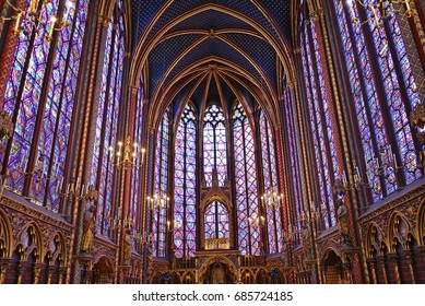 PARIS - JULY 10, 2017: Sainte-Chapelle is a royal chapel that was constructed between 1242 and 1248 by order of King Louis IX to house his collection of Passion relics.