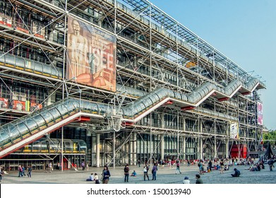 PARIS - JULY 13: Facade of the Centre of Georges Pompidou on July 13, 2013 in Paris, France. The Centre of Georges Pompidou is one of the most famous museums of the modern art in the world