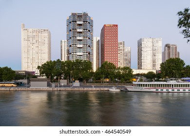 PARIS - JULY 18, 2016: Front de Seine (also known as Beaugrenelle) - district with skyscrapers in Paris, an urban planning project from the 1970s.
