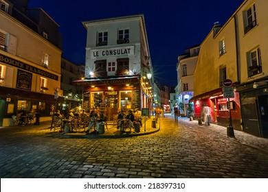 PARIS - JULY 2: Cafe Le Consulat on Montmartre on July 1, 2013 in Paris. Montmartre area is among most popular destinations in Paris, Le Consulat is a typical Paris cafe.