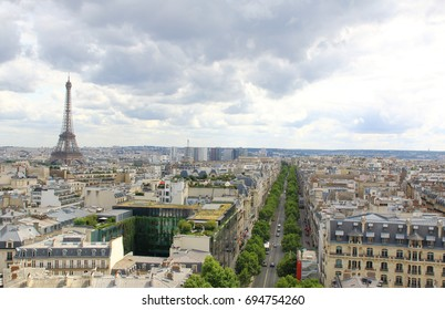 PARIS, JULY 2017: Skyline of Paris city with Eiffel Tower from above, France