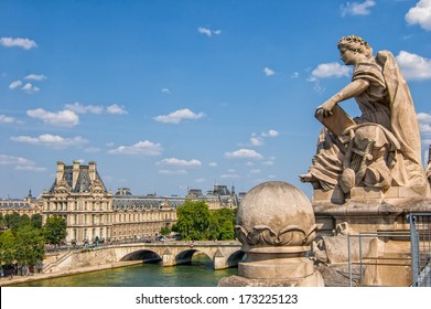 PARIS - JULY 21: The Louvre museum, view from the top of the Musee d'Orsay on July 21, 2013 in Paris, France. The Louvre was once a palace and is now the most famous museum in France.