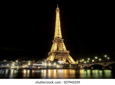 PARIS - JULY 29: Lighting the Eiffel Tower on July 29, 2016 in Paris. Eluminate Eiffel tower is the most popular travel place and global cultural icon of the France and the world.