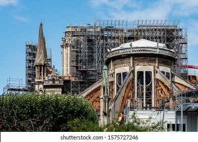 PARIS – JULY 30, 2019: Notre Dame de Paris cathedral under renovations, covered with the scaffolding after destroyed by fire on April 15, 2019.