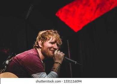PARIS - JULY 6, 2018: British singer Ed Sheeran during his performance at the Stade de France.