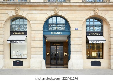 PARIS - JULY 8: Chanel shop in place Vendome in Paris. Chanel is a fashion house founded in 1909 specialized in haute couture and luxury goods, on July 8, 2014 in Paris.