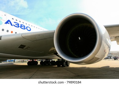 PARIS - JUN 24: Turbine of Airbus A380 (largest passenger airliner in the world) on 49th Paris Air Show on June 24, 2011 in Paris, France.