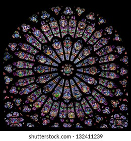 PARIS - JUNE 08: Rose window of Notre Dame Cathedral on June 08, 2010 in Paris, France. Notre Dame cathedral dates back to 1250 and is a famous landmark of Paris.