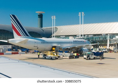 PARIS - JUNE 11, 2015: Airfrance plane at the Roissy Charles de Gaulle International Airport (CDG). It is the French flag carrier headquartered in Tremblay-en-France, (north of Paris).