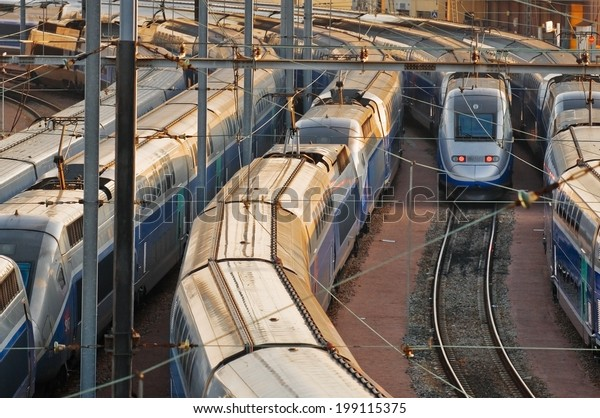 PARIS - JUNE 16, 2014 - TGV, french high-speed train, waiting at the station of Lyon