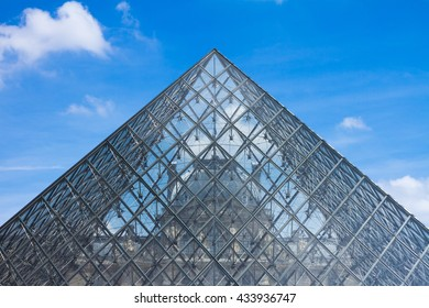 PARIS - JUNE 17, 2014: Symetrical view of the Lourve Pyramid at the Lourve Museum in Paris with blue sky and clouds in the background.