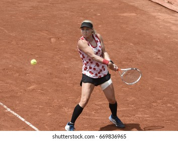 PARIS - JUNE 2:  Bethanie Mattek-Sands competes against Samantha Stosur (AUS) in round 3 at The French Open on June 2, 2017 in Paris, France.