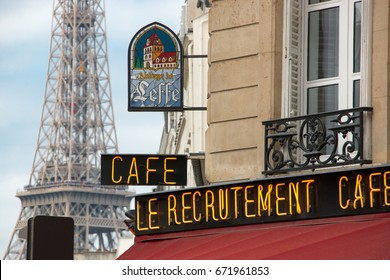 Paris, June 23, 2017. A Parisian brasserie animates the district of the Champs de Mars, at the foot of the Eiffel Tower.
