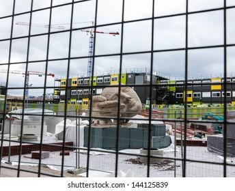 PARIS - JUNE 23: Sculpture Ecoute (Listening) by Henri de Miller at Les Halles construction site on June 23, 2013 in Paris, France. From 2011 Les Halles is reorganized to become new heart of Paris.