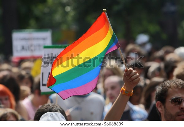 PARIS - JUNE 26: A person waves with the rainbow flag to support gay rights during the Paris Gay Pride parade, on June 26, 2010 in Paris, France.