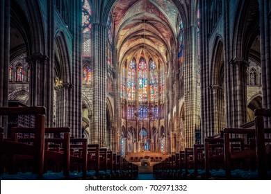 PARIS - JUNE 28, 2017: The nave of the Basilica of Saint Denis, looking towards the choir, Saint-Denis, Paris, France.