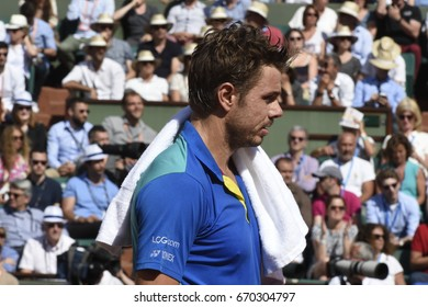 PARIS - JUNE 5:  Stan Wawrinka (SUI) competes against Gaël Monfils (FRA) in round 4 at The French Open on June 5, 2017 in Paris, France.