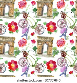 Paris landmark, watercolor seamless pattern. Watercolor stein.Vintage doodle.In French good travel,hello, Eiffel tower, arc de Triomphe, Moulin Rouge, bicicle and flowers