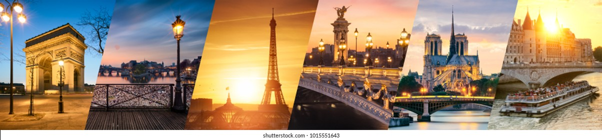 Paris landmarks collage
