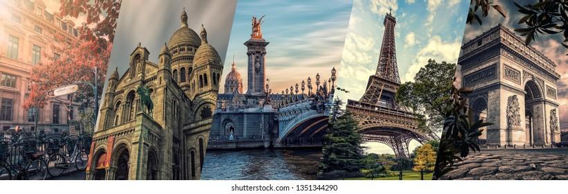 Paris landmarks collage