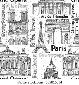 Paris landmarks seamless pattern. Hand drawn Eiffel Tower, Notre Dame de Paris, Arc de Triomphe, Grand Opera, Pantheon.