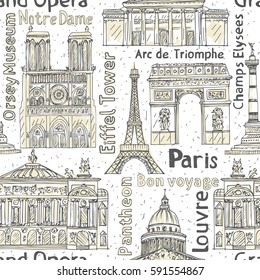 Paris landmarks seamless pattern. Hand drawn  Eiffel Tower, Notre de Paris, Arc de Triomphe,  Grand Opera, Pantheon