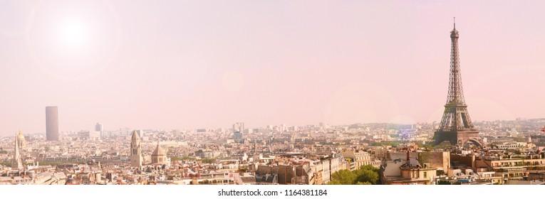 Paris landscape with tour eiffel at sunset